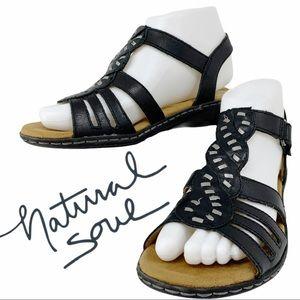 Natural Soul Leather Sandals- Black
